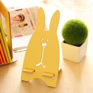 韩版超萌越狱兔木质手机支架 懒人手机架  黄色