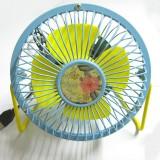 花朵风扇 4寸usb纯金属铝叶风扇360度旋转风扇 蓝黄