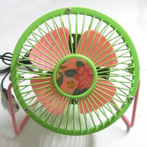 花朵风扇 4寸usb纯金属铝叶风扇360度旋转风扇 绿粉