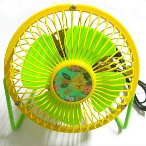 花朵风扇 4寸usb纯金属铝叶风扇360度旋转风扇 黄绿