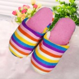 韩版条纹素色迎宾拖鞋/七彩条纹棉鞋 混色