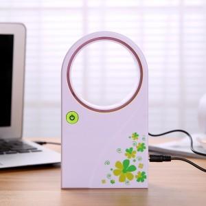 USB电池两用手持无叶风扇 空调风扇-绿色