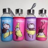 卡通带杯套玻璃杯 便携防漏透明布套水杯子 香蕉猴 300ml 100个/箱