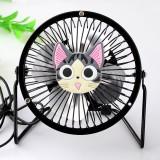 爆款动物卡通 4寸usb纯金属铝叶风扇360度旋转风扇 黑色起司猫 60个/箱