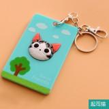 韩国可爱卡片包/钥匙扣立体公交卡套?小花猫