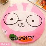 可爱卡通洗澡浴帽/防水沐浴帽(花边)-粉色兔子