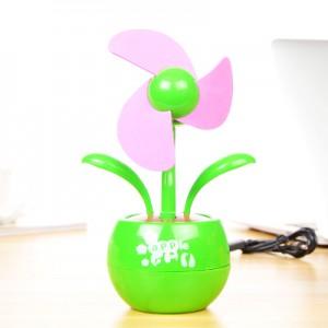 卡通创意USB电池两用苹果花风扇 迷你小风扇-绿色