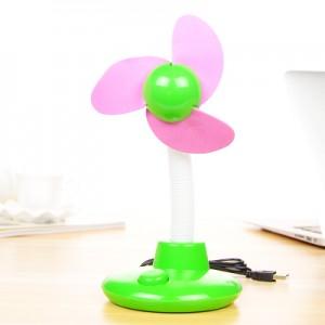 清新台灯式USB电池两用风扇 迷你小风扇—绿色