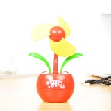 卡通创意USB电池两用苹果花风扇 迷你小风扇-红色