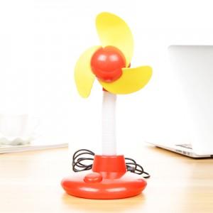 清新台灯式USB电池两用风扇 迷你小风扇-红色