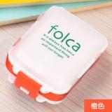 可折叠三段分药盒 8格迷你药品收纳盒 便携式随身小药盒 白+橙