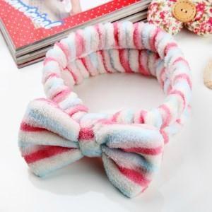韩版可爱卖萌大蝴蝶结洗脸束发带 超柔珊瑚绒化妆发箍 -粉蓝条纹