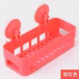 新款厨卫沥水置物架 双吸盘杂物收纳篮浴室置物篮 玫红色