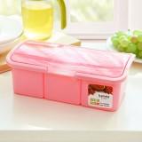 厨房调料盒套装塑料 透明波浪盖调料罐调味盐罐佐料盒 三格粉色 60/箱