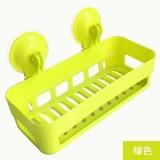 新款厨卫沥水置物架 双吸盘杂物收纳篮浴室置物篮 绿色