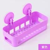 新款厨卫沥水置物架 双吸盘杂物收纳篮浴室置物篮 紫色