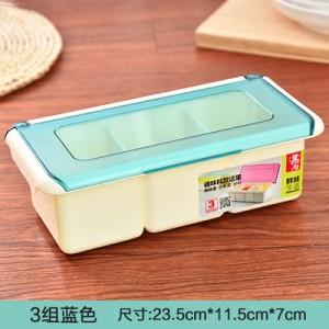 翻盖磨砂盖塑料调味盒 罐调味瓶调料盒盐罐套装配勺 三格蓝色 60/箱