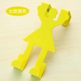 卡通人形门背式挂钩 创意无痕门后衣服挂架 女款黄色