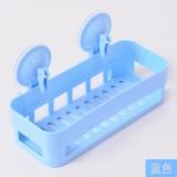 新款厨卫沥水置物架 双吸盘杂物收纳篮浴室置物篮 蓝色