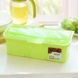 厨房调料盒套装塑料 透明波浪盖调料罐调味盐罐佐料盒 三格绿色 60/箱