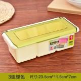 翻盖磨砂盖塑料调味盒 罐调味瓶调料盒盐罐套装配勺 三格绿色 60/箱