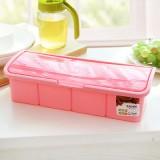 厨房调料盒套装塑料 透明波浪盖调料罐调味盐罐佐料盒 四格粉色 60/箱