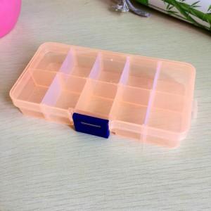 可拆分 DIY分类透明储物盒首饰盒整理盒药盒 中号10格 橙色  300一件
