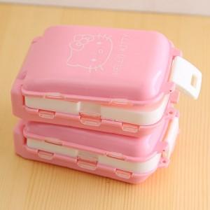 可折叠三段分药盒 8格迷你药品收纳盒 便携式随身小药盒 kt猫