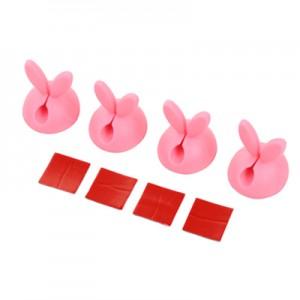 韩国兔子耳朵固线器4枚装 硅胶线卡粘胶电线固定夹 粉色