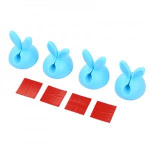 韩国兔子耳朵固线器4枚装 硅胶线卡粘胶电线固定夹 蓝色