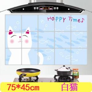 经济型 厨房防油烟贴纸 耐高铝箔瓷砖橱柜贴饰温 装饰墙贴 白猫