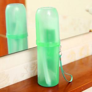 糖果色洗漱收纳筒/牙刷收纳盒/旅行便携漱口杯-透明绿 200个/箱