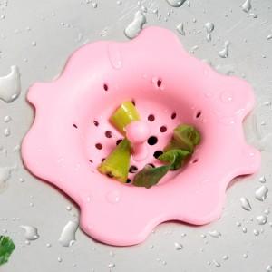 日式厨房花朵形过滤网 创意水槽水池硅胶防塞网地漏 粉色 300/箱