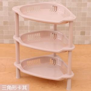 卫浴三层三角置物架 塑料收纳层架 三角落地架子 卡其 48个/箱