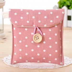 韩国清新波点棉麻收纳包 卫生棉姨妈巾包 粉色 700个/箱