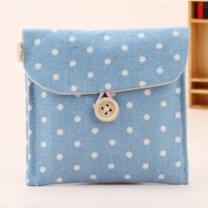 韩国清新波点棉麻收纳包 卫生棉姨妈巾包 蓝色 700个/箱