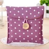 韩国清新波点棉麻收纳包 卫生棉姨妈巾包 紫色 700个/箱
