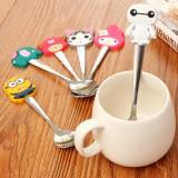 可爱卡通不锈钢长柄勺子餐具咖啡搅拌勺 大白 20个一捆 150捆/箱