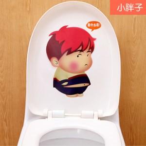 可爱卡通韩式彩色防水马桶贴 装饰贴纸 墙贴 小胖子 100个一捆