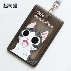 可爱卡通软胶可挂绳公交卡套银行卡片包证件套 黑色起司猫
