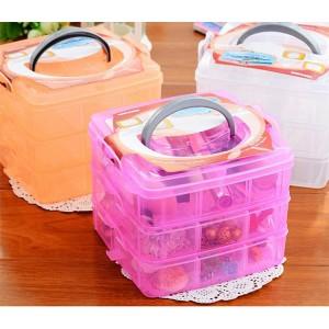 创意三层可拆卸塑料收纳箱 小物件药物杂物桌面收纳盒首饰盒