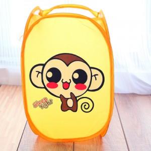 卡通折叠脏衣篮/衣服收纳筐/脏衣篓洗衣篮 黄色嘻哈猴 120个/箱