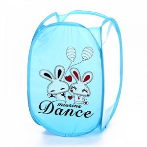 卡通折叠脏衣篮/衣服收纳筐/脏衣篓洗衣篮 蓝色双白兔 120个/箱