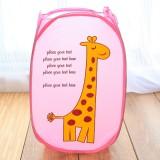 卡通折叠脏衣篮/衣服收纳筐/脏衣篓洗衣篮 粉色长颈鹿 240个/箱
