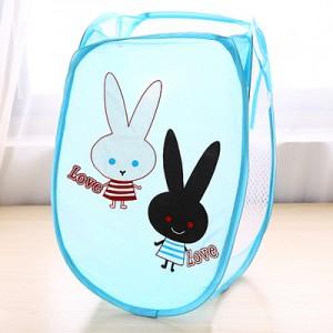 卡通折叠脏衣篮/衣服收纳筐/脏衣篓洗衣篮 蓝色love兔 120个/箱