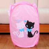 卡通折叠脏衣篮/衣服收纳筐/脏衣篓洗衣篮 粉色爱情猫 120个/箱