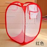 大号新款创意家居彩网折叠式脏衣篮/衣服收纳筐/脏衣篮-红色