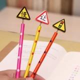 韩国文具创意木质卡通弹簧摇头铅笔 木制笔 6支装-交通信号
