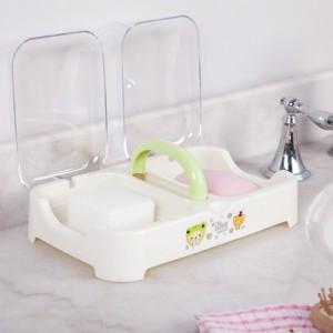 手提式翻盖沥水皂盒 时尚双体透明盖双格肥皂盒香皂盒 粉色