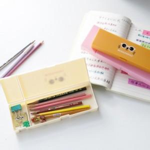卡通印花多功能玩具盒 猫咪图案PP塑料铅笔盒 (小号)JY122 米色
